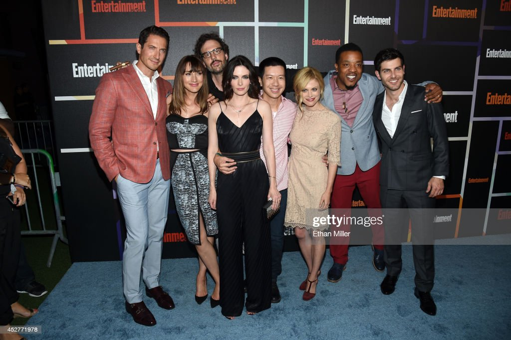 Actors Sasha Roiz, Bree Turner, Silas Weir Mitchell, Bitsie Tulloch, Reggie Lee, Claire Coffee, Russell Hornsby and David Giuntoli attend Entertainment Weekly's annual Comic-Con celebration at Float at Hard Rock Hotel San Diego on July 26, 2014 in San Diego, California.
