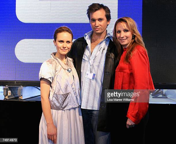Actors Saskia Burmeister Ian Stenlake and Lisa McCune attends the launch of the new Channel Nine TV drama series Sea Patrol on board HMAS Melbourne...