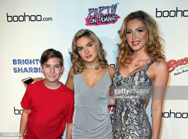 Actors Sawyer Sharbino Brighton Sharbino and Saxon Sharbino attend Indiana Massara and Brighton Sharbino birthday party on August 12 2018 in Sherman...