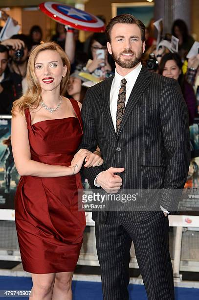 Actors Scarlett Johansson and Chris Evans attend the UK Film Premiere of Captain America The Winter Soldier at Westfield London on March 20 2014 in...