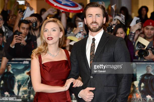 "Actors Scarlett Johansson and Chris Evans attend the UK Film Premiere of ""Captain America: The Winter Soldier"" at Westfield London on March 20, 2014..."