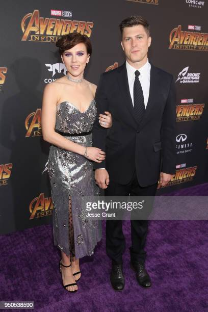 Actors Scarlett Johansson and Colin Jost attend the Los Angeles Global Premiere for Marvel Studios' Avengers Infinity War on April 23 2018 in...