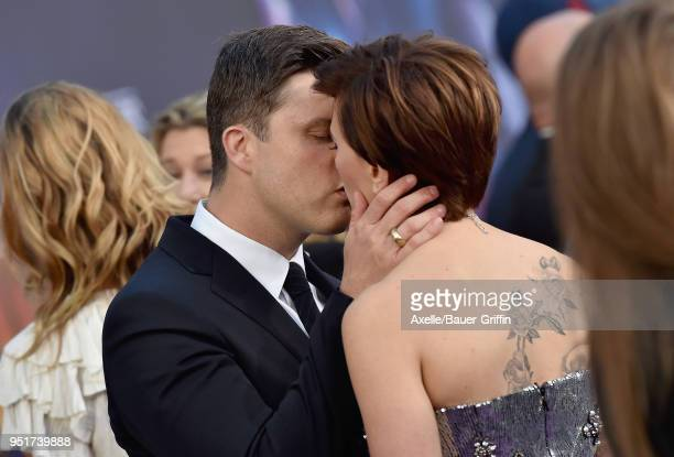 Actors Scarlett Johansson and Colin Jost attend the premiere of Disney and Marvel's 'Avengers: Infinity War' on April 23, 2018 in Hollywood,...