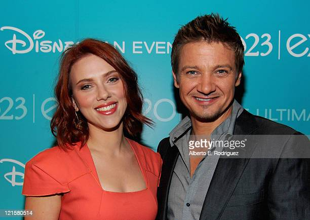 Actors Scarlett Johansson and Jeremy Renner from Marvel's The Avengers attend Disney's D23 Expo held at the Anaheim Convention Center on August 20...
