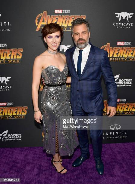 Actors Scarlett Johansson and Mark Ruffalo attend the Los Angeles Global Premiere for Marvel Studios' Avengers Infinity War on April 23 2018 in...