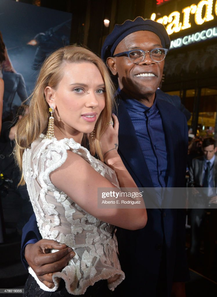 Actors Scarlett Johansson (L) and Samuel L. Jackson attend Marvel's 'Captain America: The Winter Soldier' premiere at the El Capitan Theatre on March 13, 2014 in Hollywood, California.