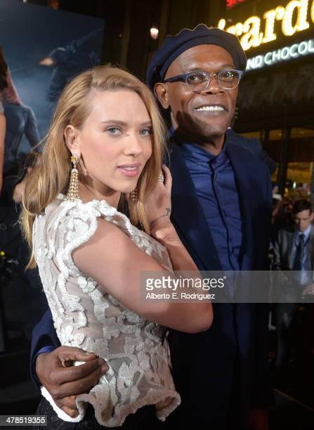 "Actors Scarlett Johansson and Samuel L. Jackson attend Marvel's ""Captain America: The Winter Soldier"" premiere at the El Capitan Theatre on March 13,..."