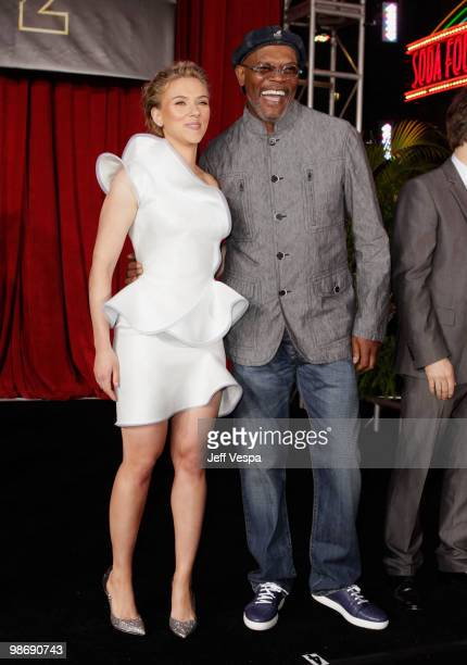 """Actors Scarlett Johansson and Samuel L. Jackson onstage at the """"Iron Man 2"""" World Premiere at El Capitan Theatre on April 26, 2010 in Hollywood,..."""