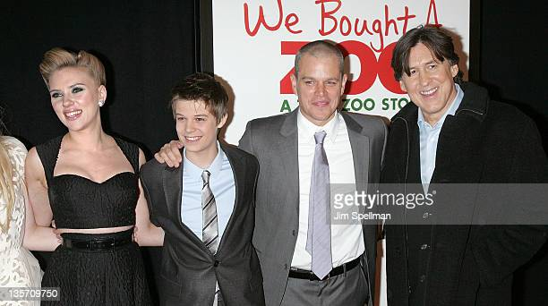 LR Actors Scarlett Johansson Colin Ford Matt Damon and director Cameron Crowe attend the We Bought a Zoo premiere at Ziegfeld Theater on December 12...