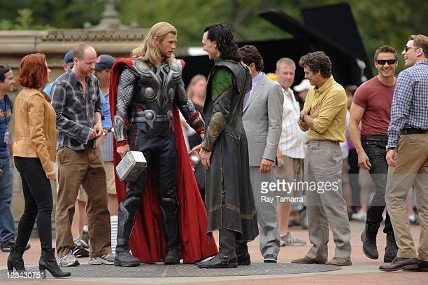 Actors Scarlett Johansson director Joss Whedon Chris Hemsworth Tom Hiddleston Mark Ruffalo Jeremy Renner and Chris Evans rehearse a scene at The...