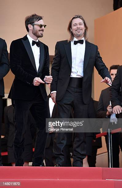 Actors Scoot McNairy and Brad Pitt attend the Killing Them Softly Premiere during the 65th Annual Cannes Film Festival at Palais des Festivals on May...