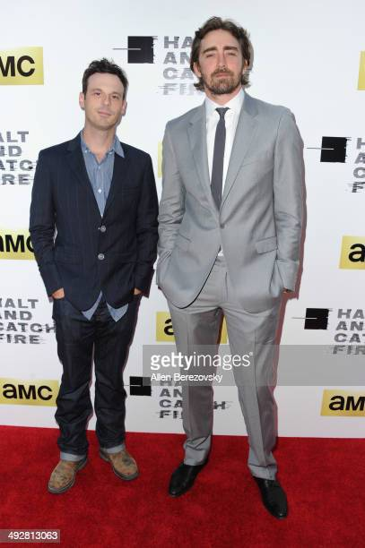 Actors Scoot McNairy and Lee Pace arrive at the Los Angeles premiere of AMC's new series 'Halt And Catch Fire' at ArcLight Cinemas on May 21 2014 in...