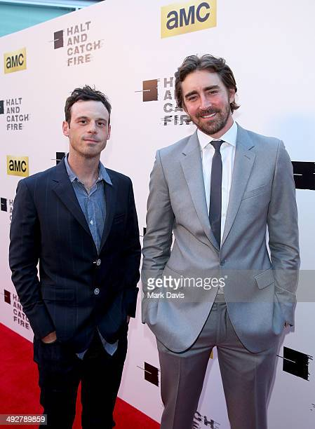Actors Scoot McNairy and Lee Pace attend AMC's new series Halt And Catch Fire Los Angeles Premiere at ArcLight Cinemas on May 21 2014 in Hollywood...