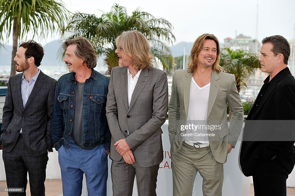 Actors Scoot McNairy, Ben Mendelsohn, director Andrew Dominik, Brad Pitt and Ray Liotta pose at the 'Killing Them Softly' photocall during the 65th Annual Cannes Film Festival at Palais des Festivals on May 22, 2012 in Cannes, France.