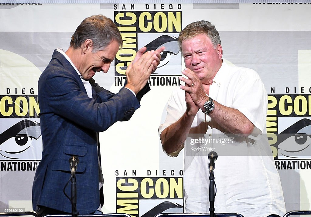 Actors Scott Bakula (L) and William Shatner attend the 'Star Trek' panel during Comic-Con International 2016 at San Diego Convention Center on July 23, 2016 in San Diego, California.