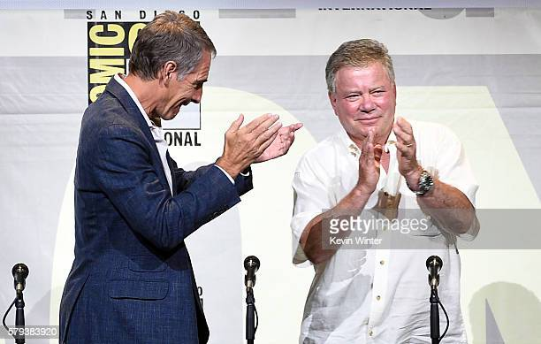 Actors Scott Bakula and William Shatner attend the 'Star Trek' panel during ComicCon International 2016 at San Diego Convention Center on July 23...