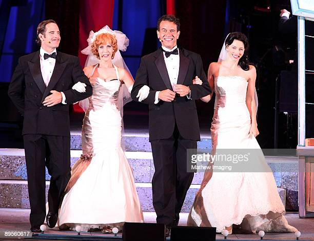 Actors Scott Bakula as Nathan Detroit and Ellen Greene as Miss Adelaide Brian Stokes Mitchell as Sky Masterson and Jessica Biel as Sarah Brown...