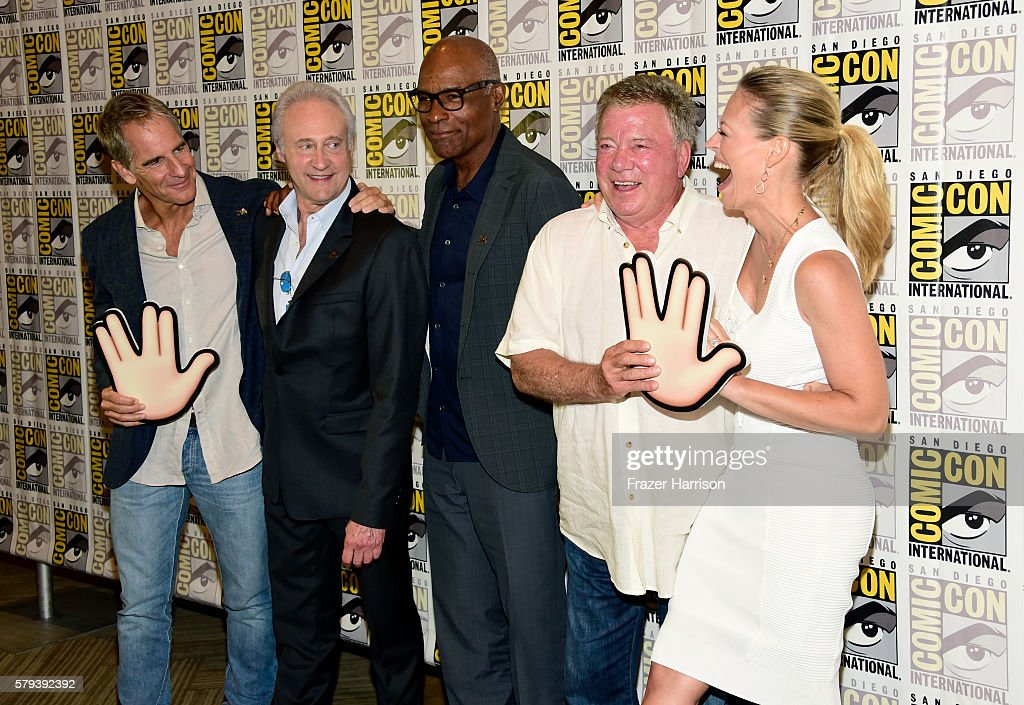 Actors Scott Bakula, Brent Spiner, Michael Dorn, William Shatner and Jeri Ryan attend the 'Star Trek 50' press line during Comic-Con International on July 23, 2016 in San Diego, California.