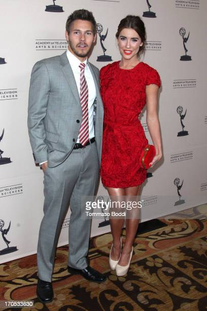 Actors Scott Clifton and Jacqueline MacInnes Wood attend the Daytime Emmy Nominees cocktail reception held at Montage Beverly Hills on June 13 2013...
