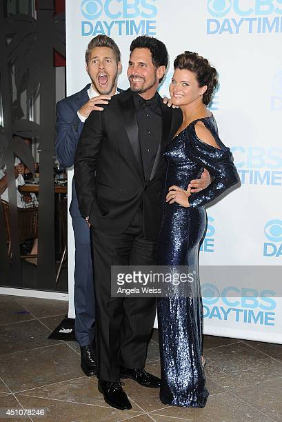 Actors Scott Clifton Don Diamont and Heather Tom attend the 41st Annual Daytime Emmy Awards after party at The Beverly Hilton Hotel on June 22 2014...