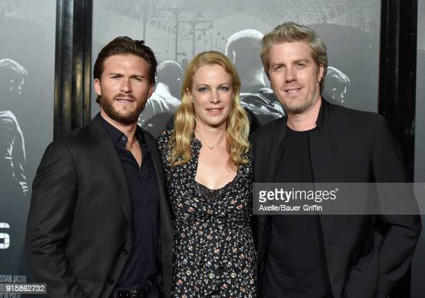 Actors Scott Eastwood Alison Eastwood and musician Kyle Eastwood attend the premiere of 'The 1517 To Paris' at Warner Bros Studios on February 5 2018...