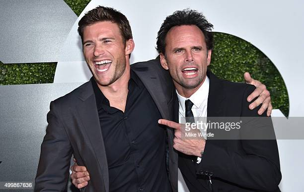 Actors Scott Eastwood and Walton Goggins attend the GQ 20th Anniversary Men Of The Year Party at Chateau Marmont on December 3 2015 in Los Angeles...