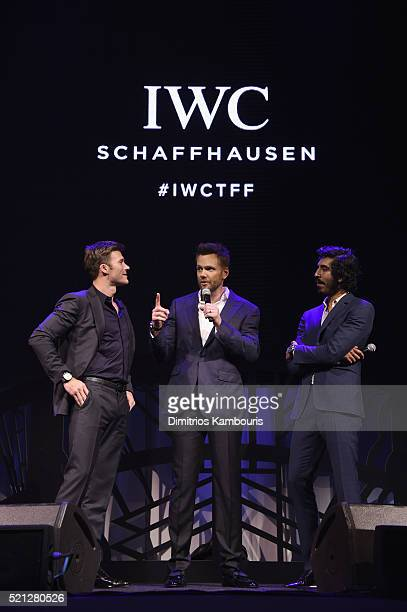 """Actors Scott Eastwood Joel McHale and Dev Patel speak onstage at the exclusive gala event """"For the Love of Cinema"""" during the Tribeca Film Festival..."""