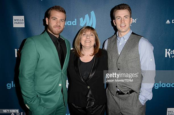 Actors Scott Evans and Chris Evans with mother Lisa Evans pose in the VIP Red Carpet Suite at the 24th Annual GLAAD Media Awards hosted by Ketel One...