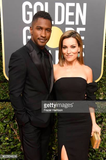 Actors Scott Evans and Kit Hoover attend The 75th Annual Golden Globe Awards at The Beverly Hilton Hotel on January 7 2018 in Beverly Hills California