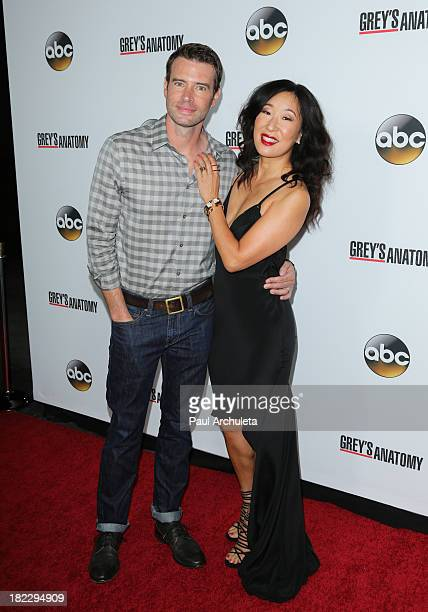 Actors Scott Foley and Sandra Oh attend the 200th episode celebration of 'Grey's Anatomy' at The Colony on September 28 2013 in Los Angeles California