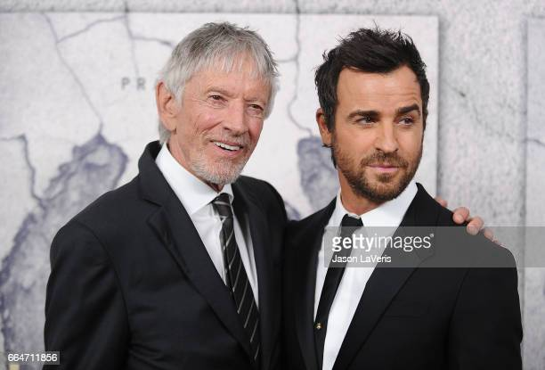 Actors Scott Glenn and Justin Theroux attend the season 3 premiere of The Leftovers at Avalon Hollywood on April 4 2017 in Los Angeles California