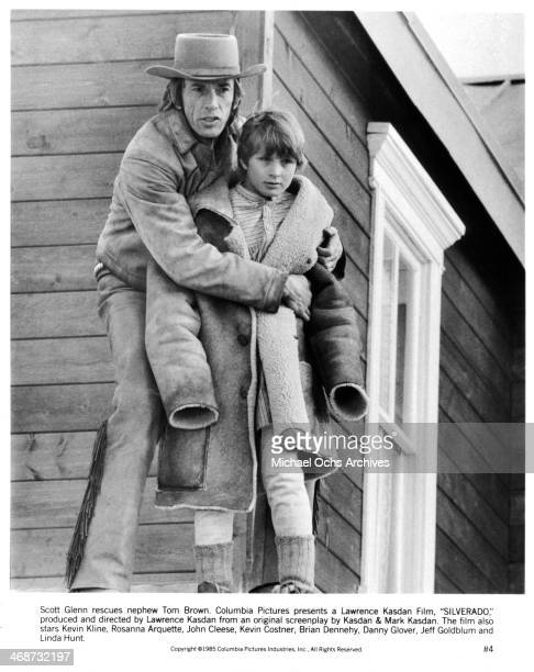 Actors Scott Glenn and Tom Brown on set the movie Silverado circa 1985