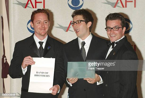 Actors Scott Grimes Rick Gomez and Frank John Hughs accepting the award for AFI Movie or MiniSeries of the Year for HBO's Band of Brothers at the...
