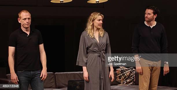 Actors Scott Shepherd Greta Gerwig and Jason Butler Harner attend the The Village Bike Opening Night at Lucille Lortel Theatre on June 10 2014 in New...