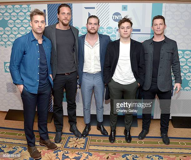 Actors Scott Speedman Ben Robson Jake Weary Finn Cole and Shawn Hatosy of 'Animal Kingdom' attend the 2016 TCA Turner Winter Press Tour Presentation...