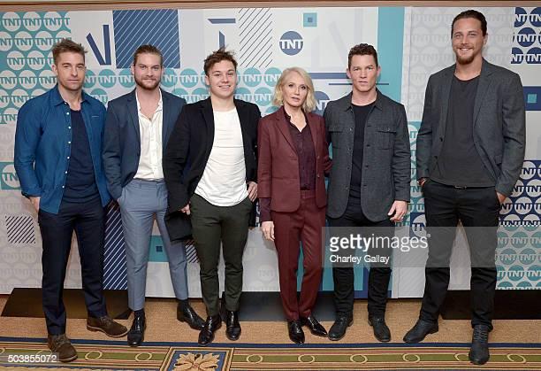Actors Scott Speedman Jake Weary Finn Cole Ellen Barkin Shawn Hatosy and Ben Robson of 'Animal Kingdom' attend the 2016 TCA Turner Winter Press Tour...