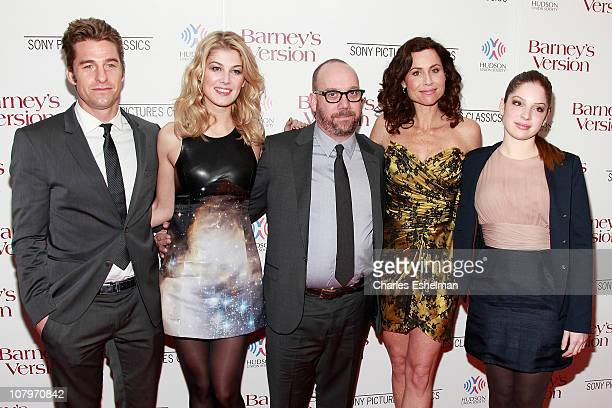 Actors Scott Speedman Rosamund Pike Paul Giamatti Minnie Driver and Anna Hopkins attend the New York premiere of Barney's Version at The Paris...