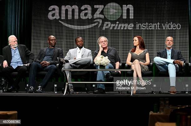 Actors Scott Wilson Lance Reddick Jamie Hector executive producer/writer Eric Overmyer actors Annie Wersching and Titus Welliver speak onstage at the...