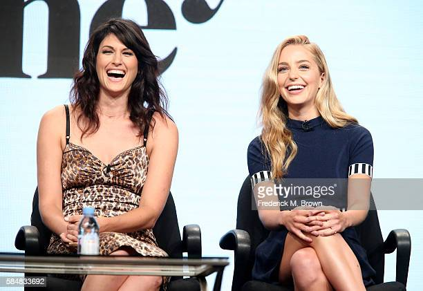 Actors Scout Durwood and Jessica Rothe speak onstage during the 'Mary Jane' panel discussion at the MTV portion of the 2016 Television Critics...
