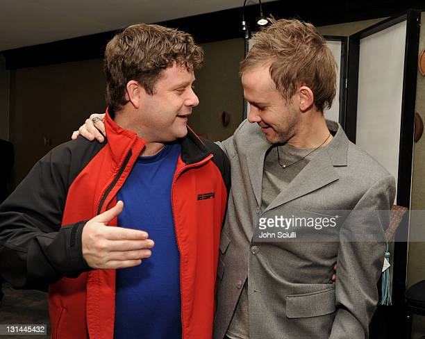 Actors Sean Astin and Dominic Monaghan attend the Access Hollywood 'Stuff You Must' Lounge produced by On 3 Productions at the Sofitel Hotel on...
