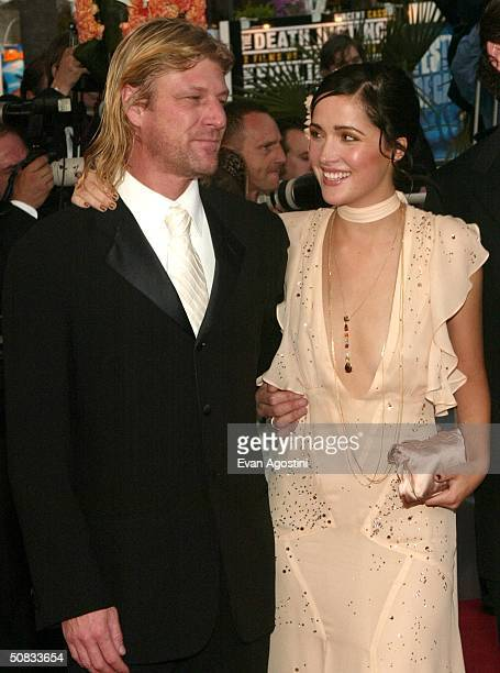 Actors Sean Bean and Rose Byrne who is wearing Chopard jewelry attend the World Premiere of the epic movie Troy at Le Palais de Festival May 13 2004...
