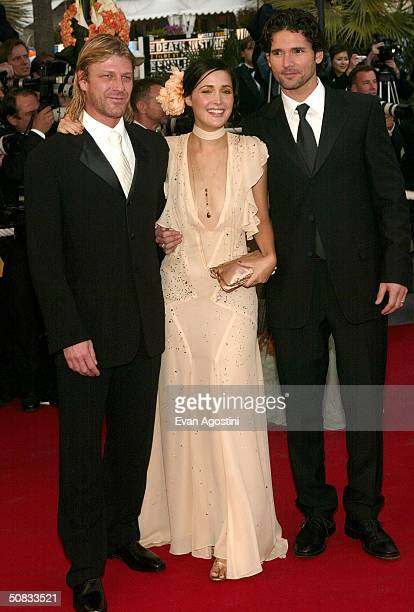 Actors Sean Bean Rose Byrne who is wearing Chopard jewelry and Eric Bana attend the World Premiere of the epic movie Troy at Le Palais de Festival...