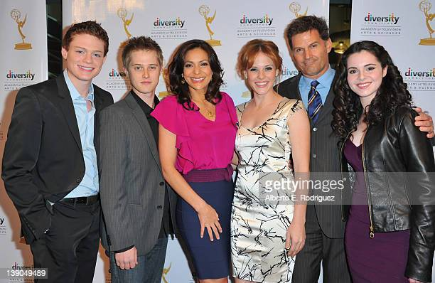 Actors Sean Berdy Lucas Grabeel Constance Marie Katie Leclerc DW Moffett and Vanessa Marano arrive to The Academy of Television Arts Sciences...
