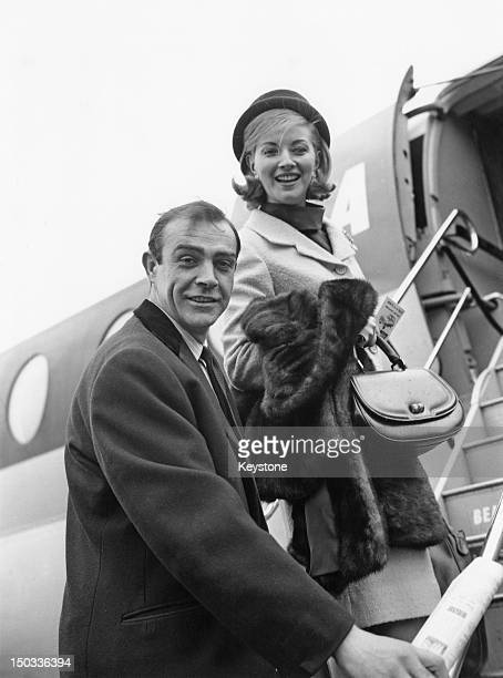 Actors Sean Connery and Daniela Bianchi stars of the James Bond film 'From Russia With Love' leaving London for location filming in Istanbul 20th...