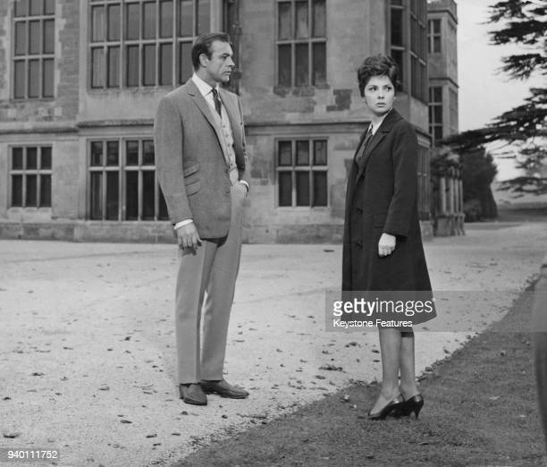 Actors Sean Connery and Gina Lollobrigida filming 'Woman Of Straw' on location at Audley End House near Saffron Walden Essex 1963