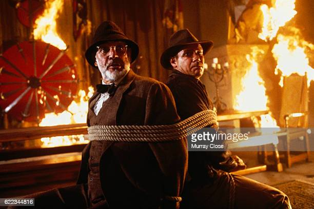Actors Sean Connery and Harrison Ford on the set of the film Indiana Jones and the Last Crusade directed by Steven Spielburg
