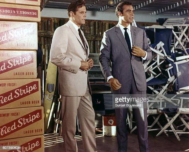 Actors Sean Connery and Jack Lord on the set of 'Dr No'