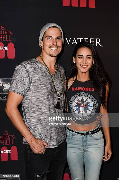 Actors Sean Faris and Cherie Jimenez attend the launch of '6 Bullets to Hell' on May 10 2016 in Los Angeles California