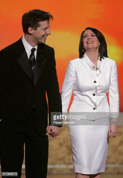 Actors Sean Hayes and Megan Mullally accept the Outstanding Comedy Series onstage at the 17th Annual GLAAD Media Awards at the Kodak Theatre on April...