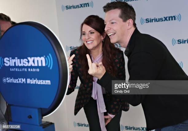 Actors Sean Hayes and Megan Mullally use the SiriusXM gif booth after taking part in SiriusXMÕs ÔTown HallÕ with the cast of ÔWill GraceÕ hosted by...